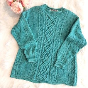FORENZA Vintage aqua cable knit oversized sweater